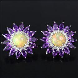 NATURAL RAINBOW OPAL, PURPLE AMETHYST TOPAZ Earrings