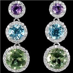 Natural Multi Color Amethyst Topaz Earrings