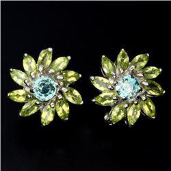 Natural Seafoam Blue Zircon Peridot 56.45 Carats Earrings