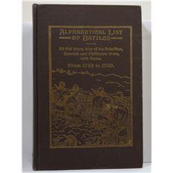 Strait: Alphabetical List of Battles: All Old Wars, War of the Rebellion, Spanish and Philippine War