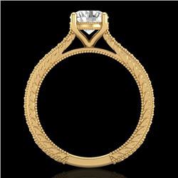 1.45 CTW VS/SI Diamond Art Deco Ring 18K Yellow Gold - REF-400A2X - 37006