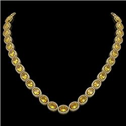 46.39 CTW Fancy Citrine & Diamond Halo Necklace 10K Yellow Gold - REF-553N6Y - 40597