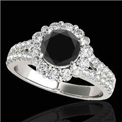 2.51 CTW Certified VS Black Diamond Solitaire Halo Ring 10K White Gold - REF-111F3N - 33943