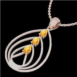 2 CTW Citrine & Micro Pave VS/SI Diamond Designer Necklace 14K Rose Gold - REF-111T6M - 22465