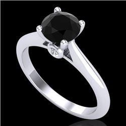 1.08 CTW Fancy Black Diamond Solitaire Engagement Art Deco Ring 18K White Gold - REF-58W2F - 38199