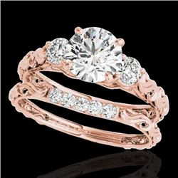 1.35 CTW H-SI/I Certified Diamond 3 Stone Ring 10K Rose Gold - REF-174W5F - 35431
