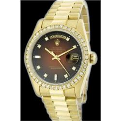 Rolex Men's 18K Yellow President, QuickSet, Diamond Dial & Diamond Bezel - REF-1391W7H