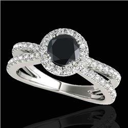 1.55 CTW Certified VS Black Diamond Solitaire Halo Ring 10K White Gold - REF-80M5H - 33849