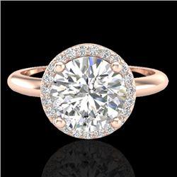 2 CTW Micro Pave VS/SI Diamond Ring Designer Halo 14K Rose Gold - REF-948Y2K - 23210