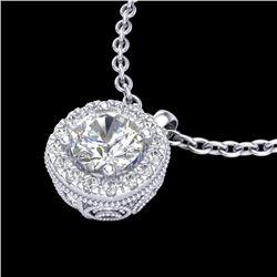 1.1 CTW VS/SI Diamond Solitaire Art Deco Stud Necklace 18K White Gold - REF-218F2N - 37121