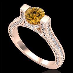 2 CTW Intense Fancy Yellow Diamond Engagement Micro Pave Ring 18K Rose Gold - REF-200X2T - 37624