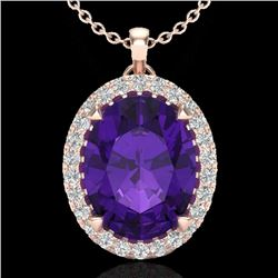 2.75 CTW Amethyst & Micro VS/SI Diamond Halo Solitaire Necklace 14K Rose Gold - REF-38F5N - 20575