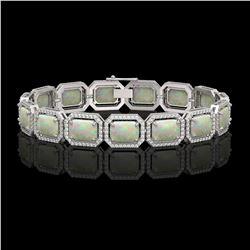 24.37 CTW Opal & Diamond Halo Bracelet 10K White Gold - REF-372Y8K - 41537