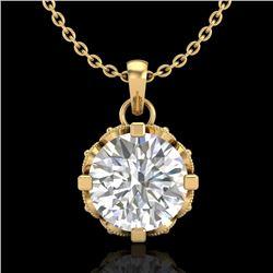 1.14 CTW VS/SI Diamond Art Deco Stud Necklace 18K Yellow Gold - REF-205X5T - 36844