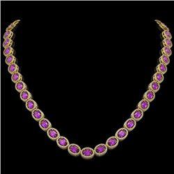29.38 CTW Amethyst & Diamond Halo Necklace 10K Yellow Gold - REF-503K5W - 40441