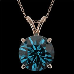 2 CTW Certified Intense Blue SI Diamond Solitaire Necklace 10K Rose Gold - REF-343Y2K - 33237