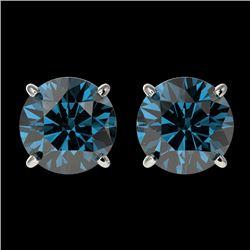 2 CTW Certified Intense Blue SI Diamond Solitaire Stud Earrings 10K White Gold - REF-205T9M - 33086