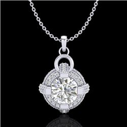 1.57 CTW VS/SI Diamond Micro Pave Stud Necklace 18K White Gold - REF-229A3X - 36953