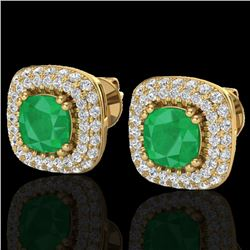 2.16 CTW Emerald & Micro VS/SI Diamond Earrings Double Halo 18K Yellow Gold - REF-105F6N - 20345