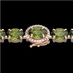 27 CTW Green Tourmaline & VS/SI Diamond Tennis Micro Halo Bracelet 14K Rose Gold - REF-243T5M - 2342