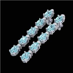 6 CTW Sky Blue Topaz & VS/SI Diamond Tennis Earrings 10K White Gold - REF-38Y2K - 21515