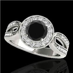 1.4 CTW Certified VS Black Diamond Solitaire Halo Ring 10K White Gold - REF-76A9X - 34561