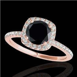 1.5 CTW Certified VS Black Diamond Solitaire Halo Ring 10K Rose Gold - REF-60Y4K - 33338