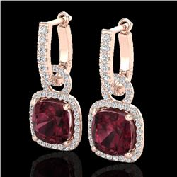 7 CTW Garnet & Micro Pave VS/SI Diamond Earrings 14K Rose Gold - REF-92X2T - 22964