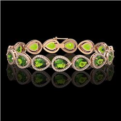 15.8 CTW Peridot & Diamond Halo Bracelet 10K Rose Gold - REF-316X8T - 41262