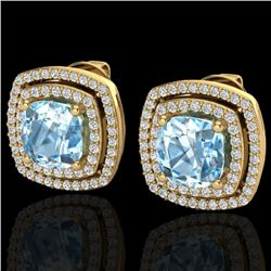4.05 CTW Sky Blue Topaz & Micro VS/SI Diamond Halo Earrings 18K Yellow Gold - REF-104N4Y - 20158