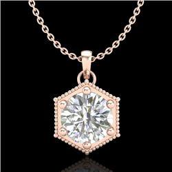 0.82 CTW VS/SI Diamond Solitaire Art Deco Stud Necklace 18K Rose Gold - REF-218K2W - 37221
