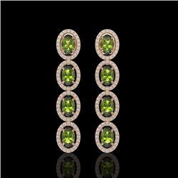 5.88 CTW Tourmaline & Diamond Halo Earrings 10K Rose Gold - REF-121Y3K - 40524