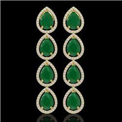 16.01 CTW Emerald & Diamond Halo Earrings 10K Yellow Gold - REF-212N8Y - 41284
