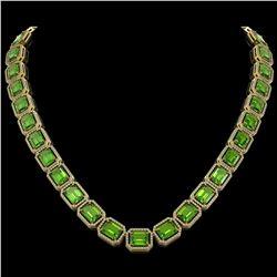 73.41 CTW Peridot & Diamond Halo Necklace 10K Yellow Gold - REF-888F2N - 41503