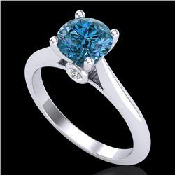 1.36 CTW Fancy Intense Blue Diamond Solitaire Art Deco Ring 18K White Gold - REF-227A3X - 38209
