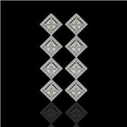5.31 CTW Princess Cut Diamond Designer Earrings 18K White Gold - REF-978H4A - 42800