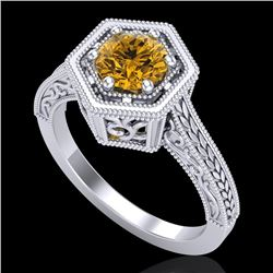 0.77 CTW Intense Fancy Yellow Diamond Engagement Art Deco Ring 18K White Gold - REF-130X9T - 37504