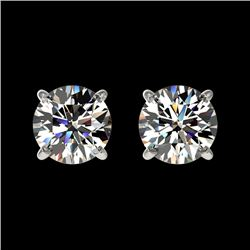 1.03 CTW Certified H-SI/I Quality Diamond Solitaire Stud Earrings 10K White Gold - REF-94N5Y - 36569
