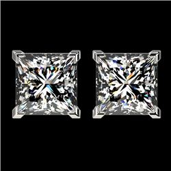 2.50 CTW Certified VS/SI Quality Princess Diamond Stud Earrings 10K White Gold - REF-840Y2K - 33114