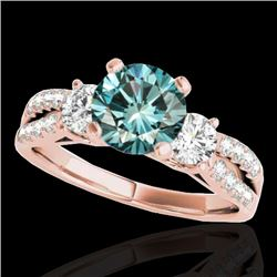 1.75 CTW Si Certified Fancy Blue Diamond 3 Stone Ring 10K Rose Gold - REF-216M4H - 35418