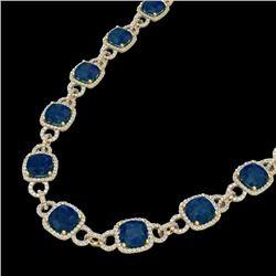 56 CTW Sapphire & Micro VS/SI Diamond Eternity Necklace 14K Yellow Gold - REF-960A2X - 23051