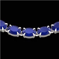 40 CTW Sapphire Eternity Tennis Necklace 14K White Gold - REF-218F2N - 23375