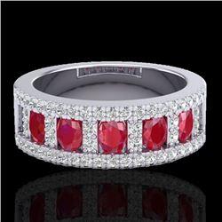 2.34 CTW Ruby & Micro Pave VS/SI Diamond Designer Inspired Ring 10K White Gold - REF-67F3N - 20826