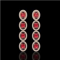5.88 CTW Tourmaline & Diamond Halo Earrings 10K Rose Gold - REF-121N3Y - 40521