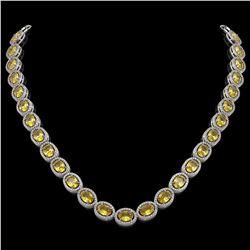 46.39 CTW Fancy Citrine & Diamond Halo Necklace 10K White Gold - REF-553K6W - 40595