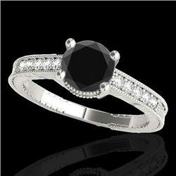 1.45 CTW Certified VS Black Diamond Solitaire Antique Ring 10K White Gold - REF-52K8W - 34759