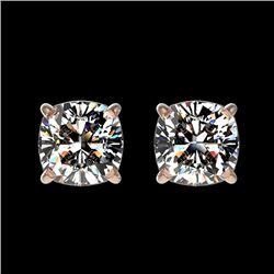 1 CTW Certified VS/SI Quality Cushion Cut Diamond Stud Earrings 10K Rose Gold - REF-147K2W - 33067
