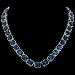 79.66 CTW London Topaz & Diamond Halo Necklace 10K White Gold - REF-740F2N - 41510