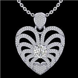 3 CTW Micro Pave VS/SI Diamond Heart Necklace 14K White Gold - REF-739A2X - 20505