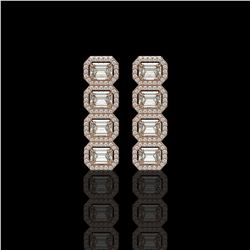 5.33 CTW Emerald Cut Diamond Designer Earrings 18K Rose Gold - REF-1125W6F - 42792